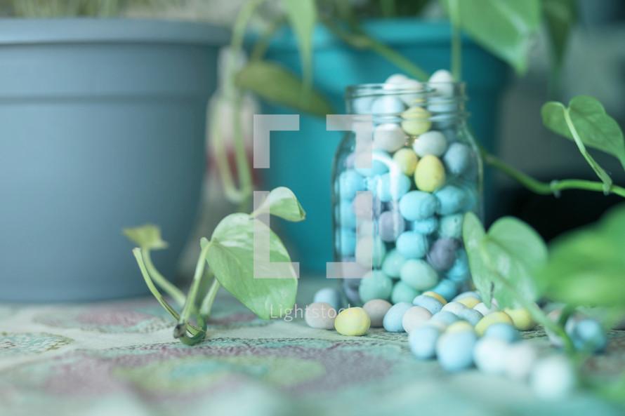 candy eggs in a mason jar