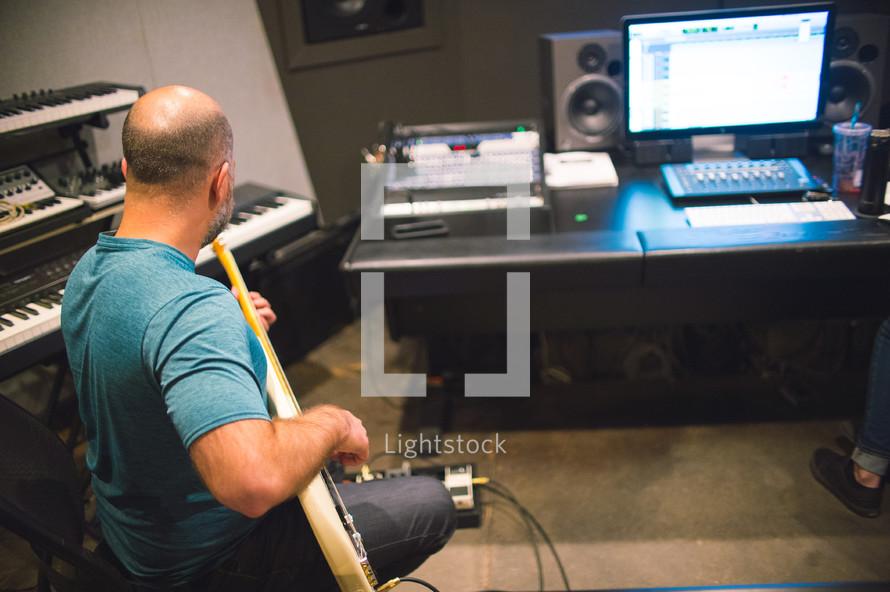 recording music in a studio