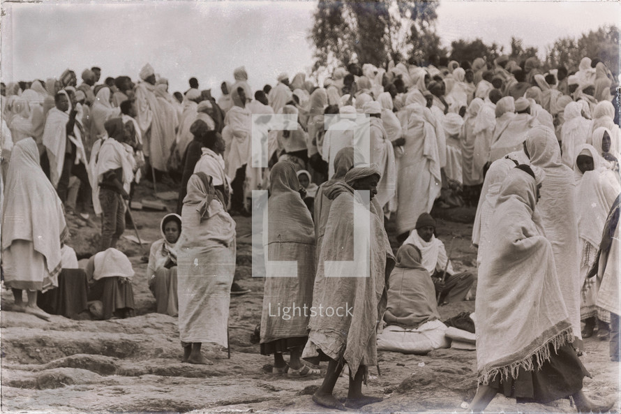 crowd of people at a celebration in Ethiopia