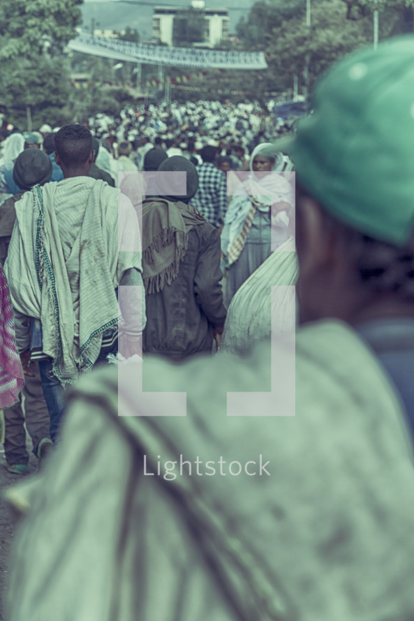 crowded market in Ethiopia