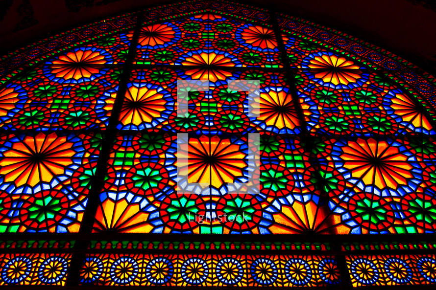 colorful stained glass window in a mosque