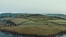 aerial view over fields in Ireland