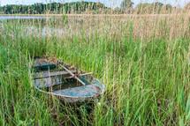 boat in a marsh in France