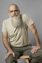 bearded mature man head shot