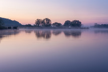 lake in Lorraine France at dawn