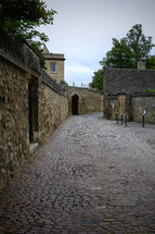 stacked stone walls and cobblestone streets in Oxford