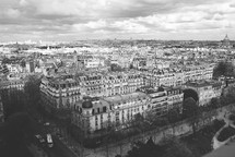 Aerial view over old Paris