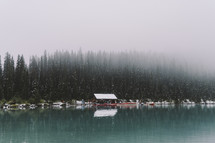 snow falling over Lake Louise