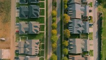 aerial view over homes in a subdivision