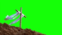 green screen and cross with white shroud