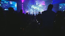 audience dancing under strobe lights at a concert