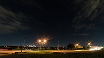 traffic and airport at night