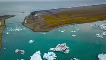 drone over glacier lagoon