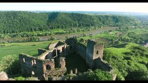 aerial view over castle ruins