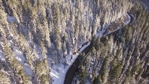 aerial view above forest with snow and road