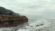 drone shot over the coastline