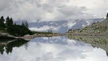 hiking near a mountain lake