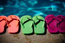 flip-flops by a pool