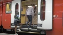 passengers on a commuter train