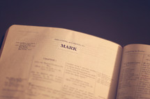 Bible open to the book of Mark.