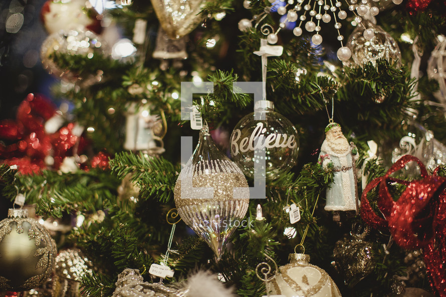 religious ornaments on a Christmas tree