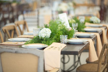 a set table at a wedding reception