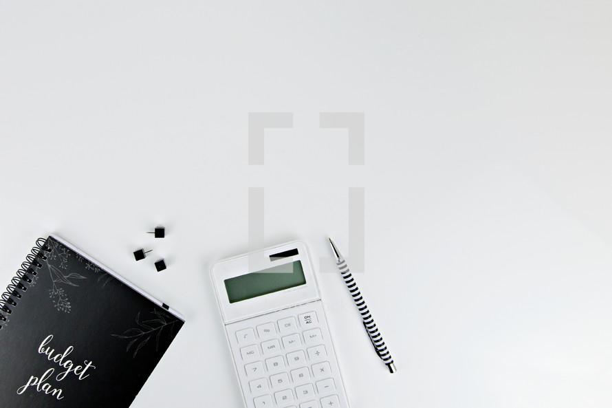 budget plan, budget, calculator, pen, black and white, journal, coffee mug, iPhone, desk, workspace, home office, homework, finances