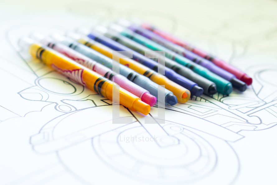Crayons on Coloring Page