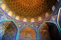 beautiful ceiling of a dome In Iran
