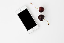 iPhone and cherries
