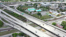 Aerial View of Light Traffic on Downtown Expressway During the Day