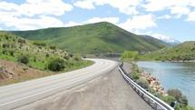 road alongside a lake