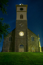 Old stone church at night