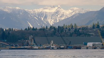 Port with snow capped mountains