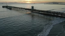 aerial view over Seal Beach pier