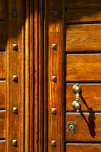wood door and knocker