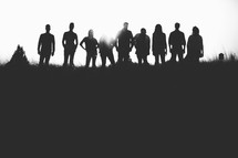 silhouettes, group, people, row, standing, field, outdoors, team, man, woman