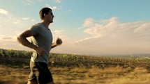 a man running outdoors