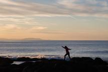 walking on a shore