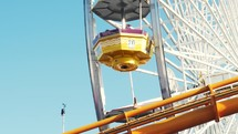 Ferris Wheel and roller coaster.