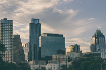 View of the Austin, Texas skyline from I-35 at sunset.
