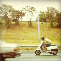 Man riding motorbike