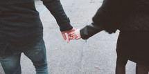 walking holding hands