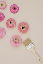 paint brush and pink peonies