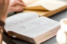reading a Bible and journaling