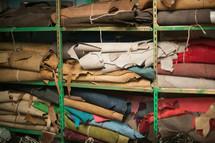 fabric on shelves
