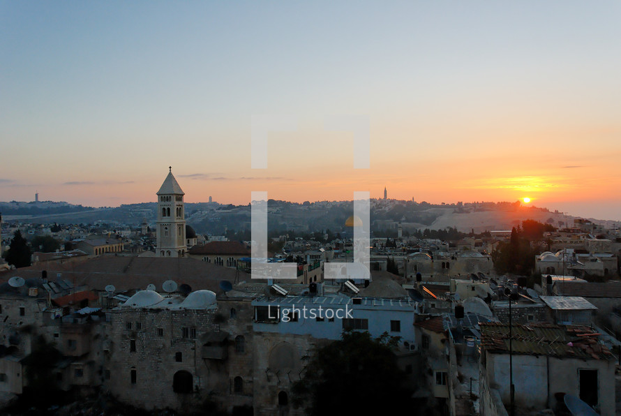 Sunrise over the Mount of Olives.