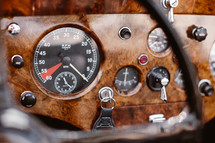 gauges in a vintage Jaguar