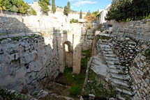 The southern pool of the Pools of Bethesda and fifth porch as seen from the south.
