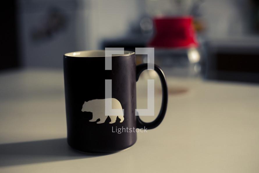 a coffee mug on a kitchen counter